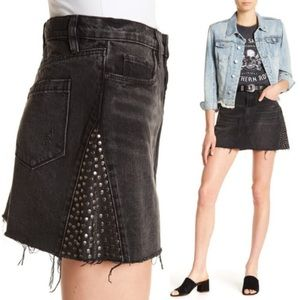 Blank NYC raw hem studded denim skirt
